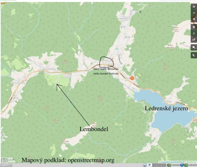 Západní část Ledrenského údolí - s vyznačením Lembondelu, Bezzeccy a Ledrenského jezera